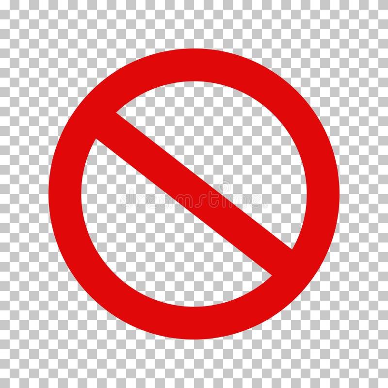 Signe d'interdiction, aucun symbole ; Biffé entourez illustration stock