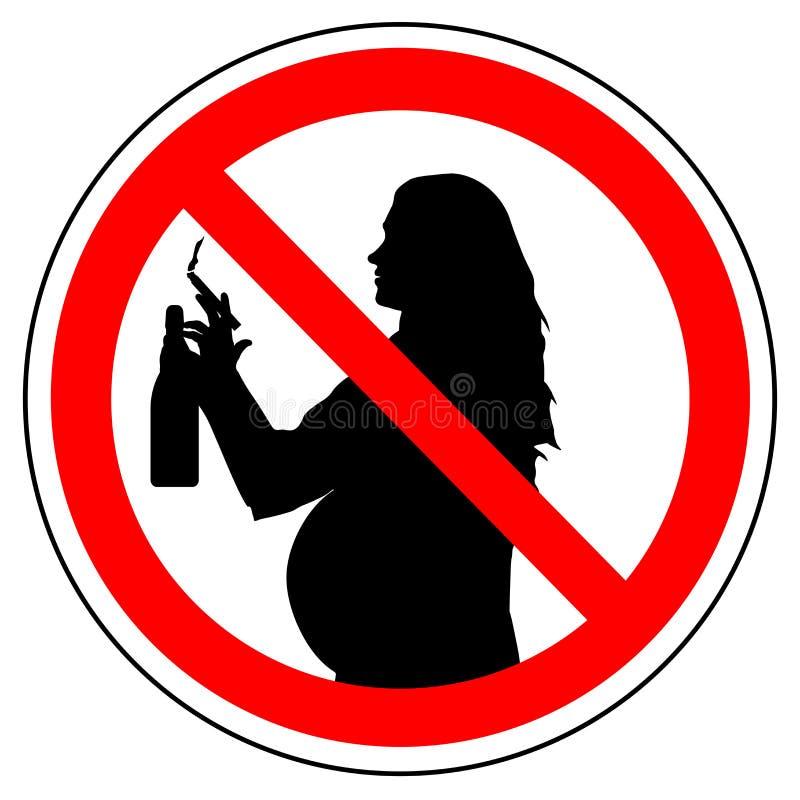 Signe d'interdiction de cigarette de tabagisme et d'alcool potable pour la femme enceinte, vecteur illustration libre de droits