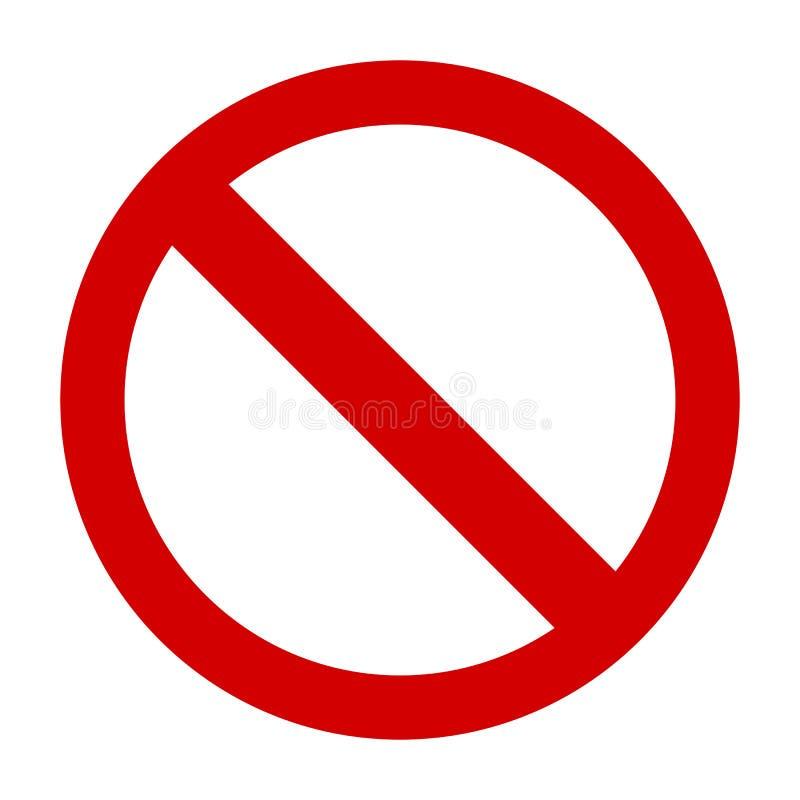 Signe d'interdiction ou aucun vecteur d'icône de signe simple illustration libre de droits