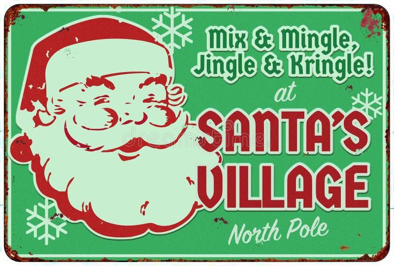 Signe d'invitation de partie d'atelier de Santa de village de Santa illustration stock