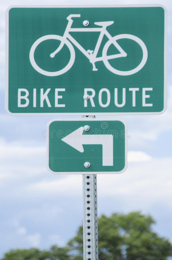 Signe d'itinéraire de vélo photo stock