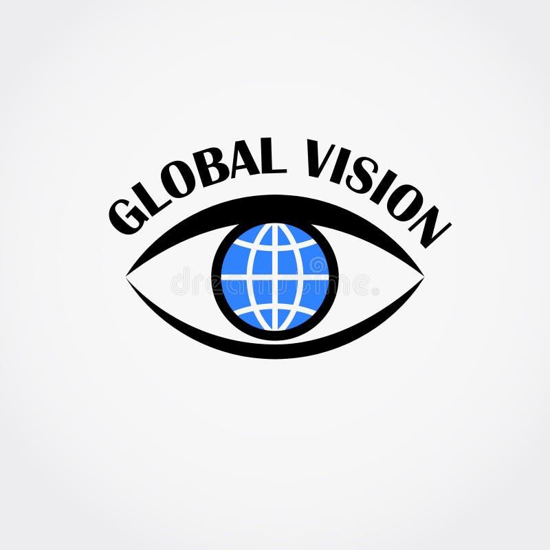 Signe d'oeil avec le globe à l'intérieur Concept global de vision Illustration de vecteur illustration stock