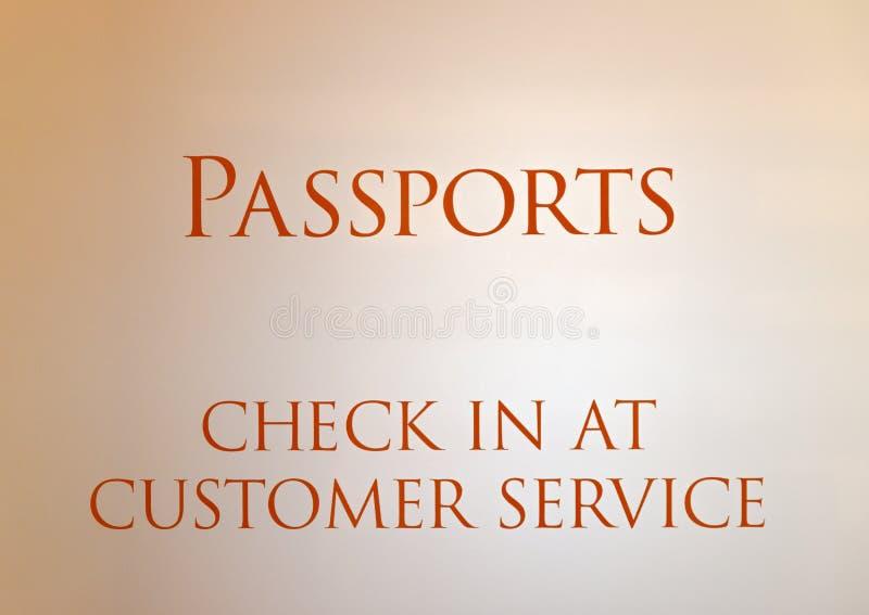 Signe d'un bureau de service à la clientèle de passeport photos stock