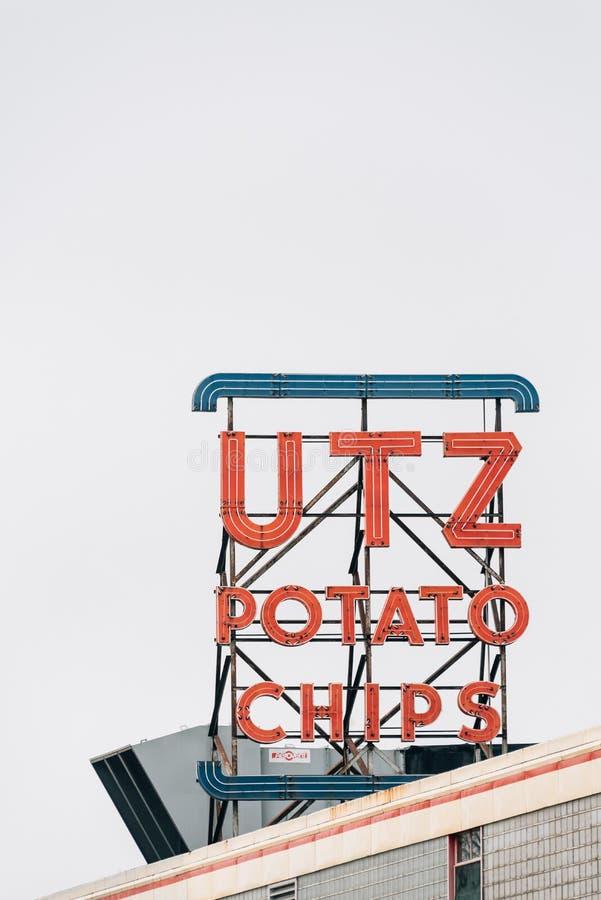 Signe d'UTZ Potato Chips, à Hannovre, la Pennsylvanie images libres de droits
