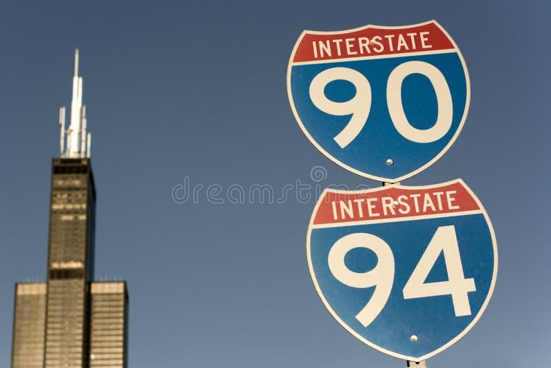 Signe de 90 et de 94 d'un état à un autre photographie stock libre de droits