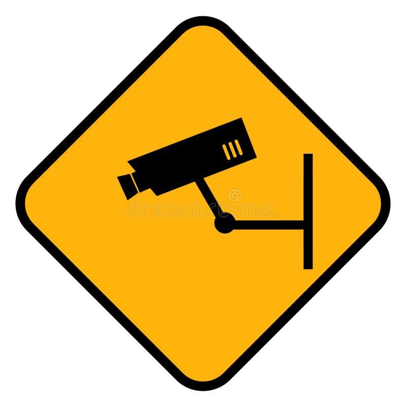 Signe de avertissement de télévision en circuit fermé illustration stock