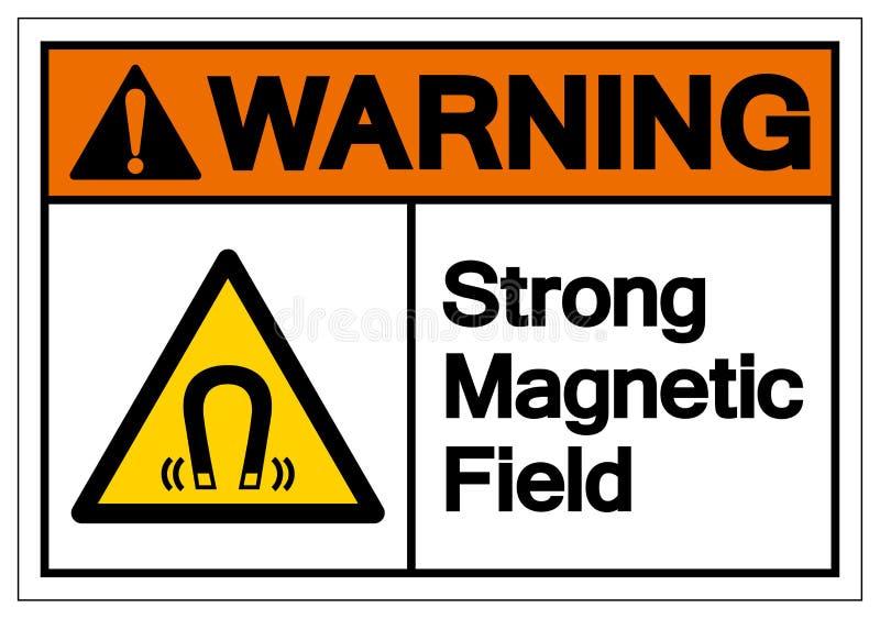 Signe de avertissement de symbole de champ magnétique, illustration de vecteur, isolat sur le label blanc de fond EPS10 illustration de vecteur