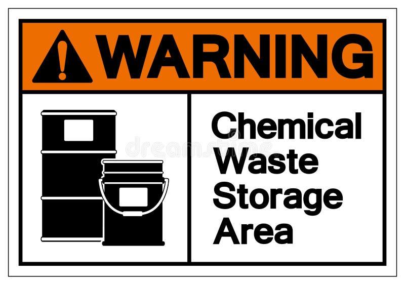 Signe de avertissement de symbole de zone de stockage de déchet chimique, illustration de vecteur, isolat sur le label blanc de f illustration stock