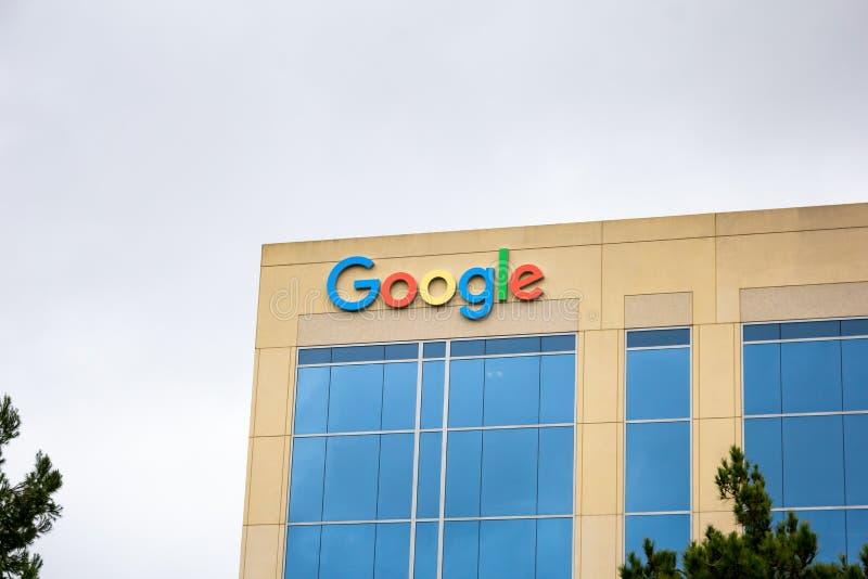 Signe de bâtiment de Google image stock