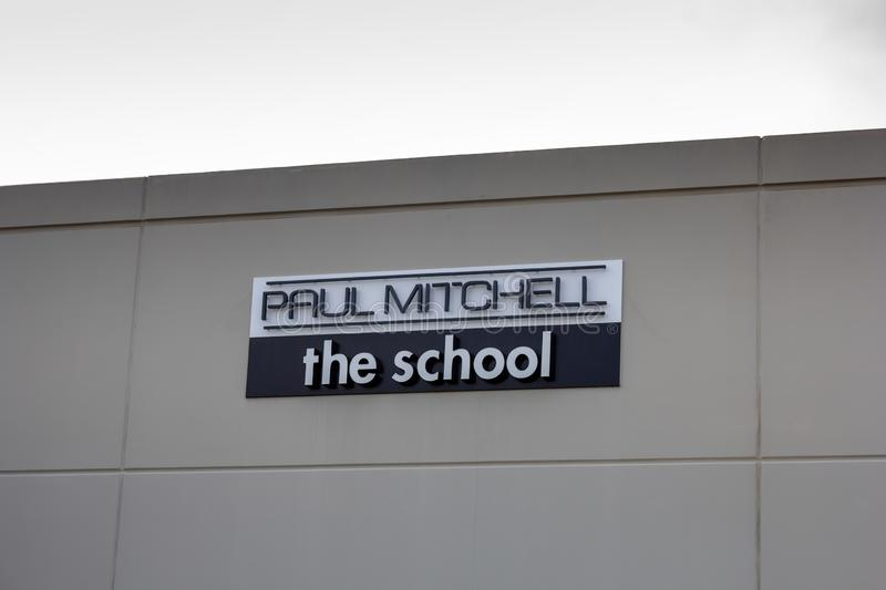 Signe de bâtiment de Paul Mitchell The School photographie stock