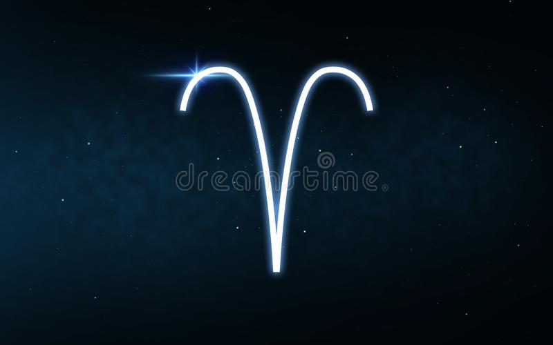 Signe de Bélier de zodiaque au-dessus de ciel nocturne et d'étoiles illustration libre de droits