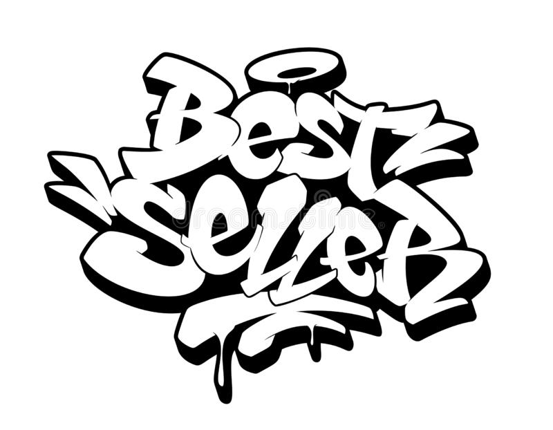 Signe de best-seller, emblème, label, insigne, autocollant Image tirée par la main de graffiti Illustration de vecteur illustration stock