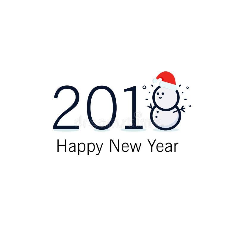 Signe de bonne année et de Joyeux Noël 2018 Carte de voeux avec le bonhomme de neige heureux se tenant dans le chapeau rouge de N illustration libre de droits