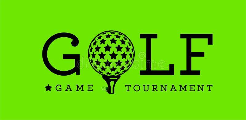 Signe de boule de golf de vecteur avec la boule avec des étoiles sur le fond vert photographie stock libre de droits