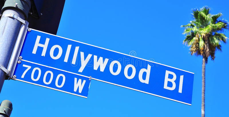Signe de boulevard de Hollywood photo stock
