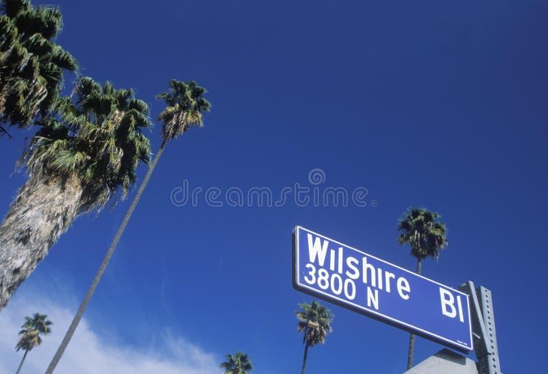 Signe de boulevard de Wilshire photographie stock libre de droits