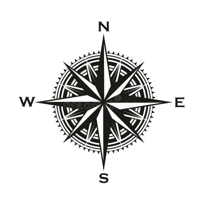 Signe de boussole de navigation de vintage, vecteur illustration libre de droits