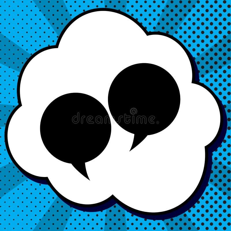 Signe de bulle des deux paroles Vecteur Icône noire dans la bulle sur le bruit bleu illustration libre de droits