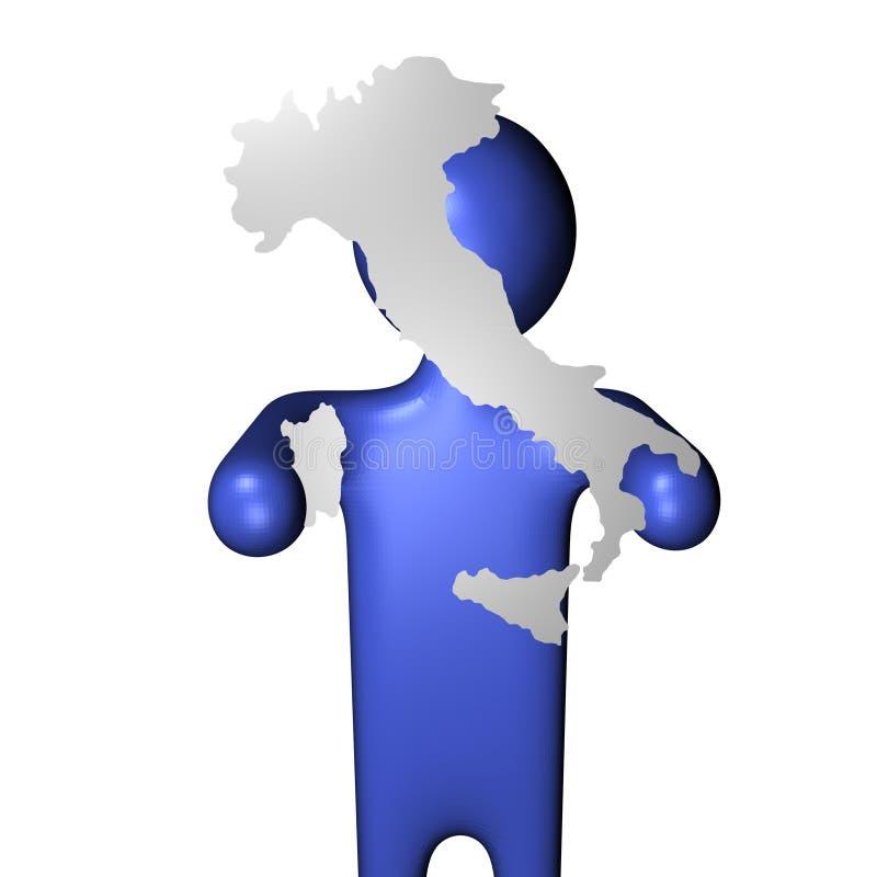 signe de carte d'homme de l'Italie illustration de vecteur
