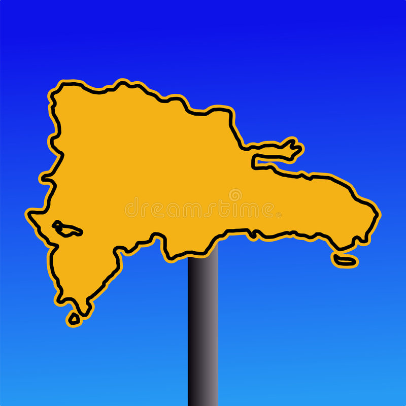 Signe de carte de la république dominicaine illustration stock