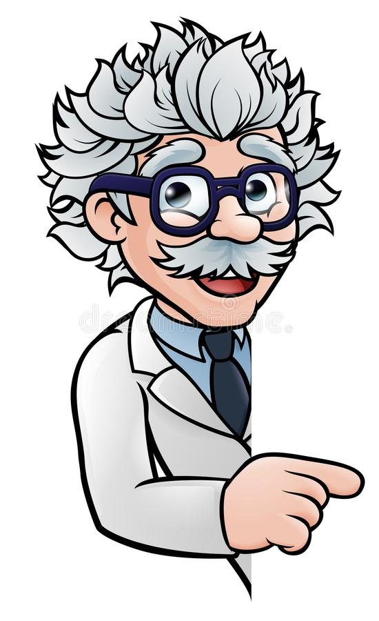 Signe de Cartoon Character Pointing de scientifique illustration de vecteur