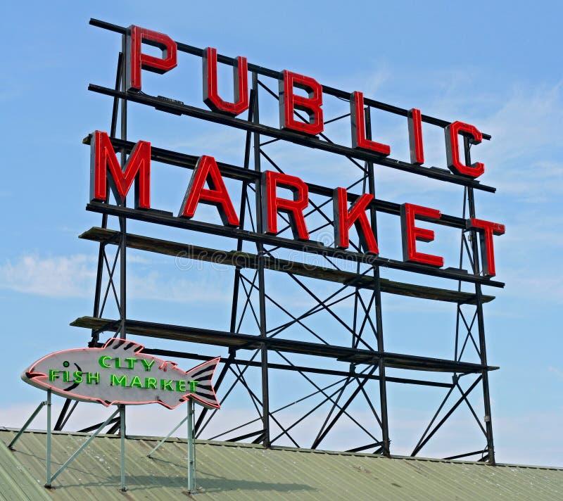 Signe de centre de marché publique de Seattle photo stock