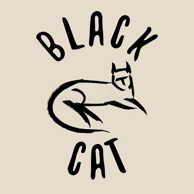 Signe de chat noir Logo de chat noir illustration libre de droits