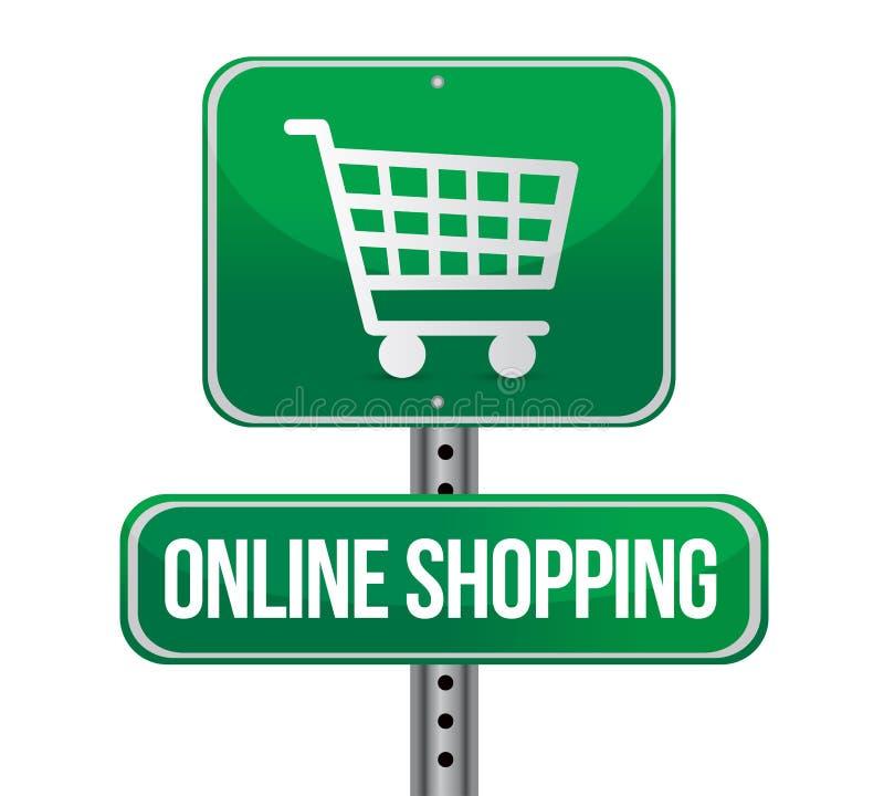 Signe de circulation routière avec des achats en ligne illustration stock