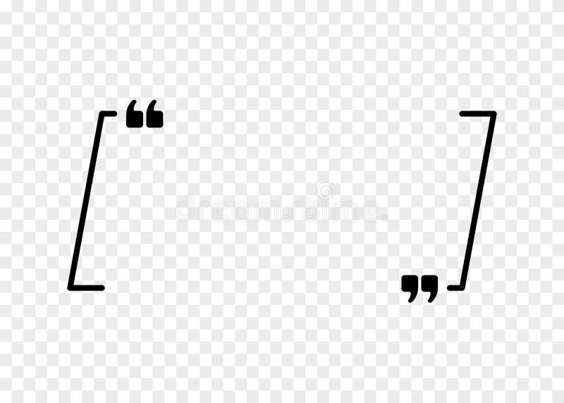 Signe de citation de vecteur Icône de paragraphe de citation Bulle de la parole, cadre vide pour le symbole de citation d'isoleme illustration stock