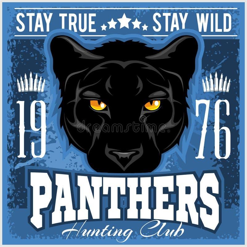 Signe de club de chasse Symbole de bouclier d'équipe de sport de chasseur Chasse à safari de panthère d'animal sauvage, logo, éto illustration stock