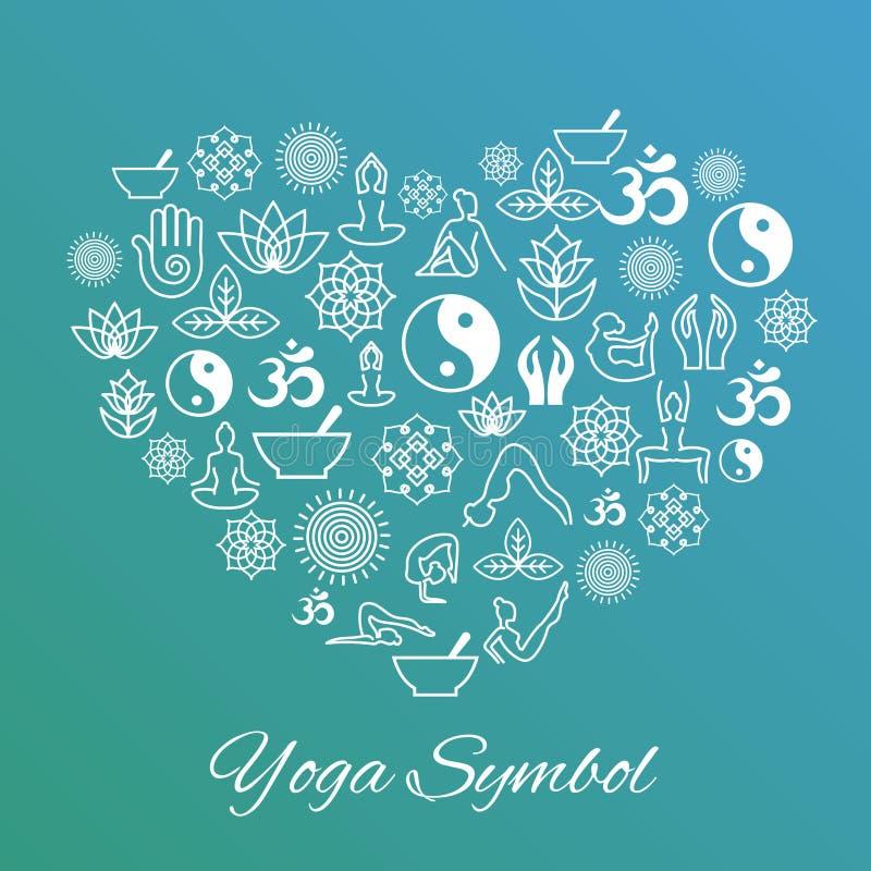 Signe de coeur de yoga J'aime le label de vecteur illustration stock