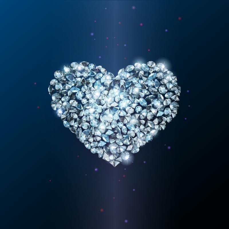Signe de coeur fait de diamants de scintillement brillants illustration libre de droits