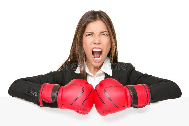Signe de concept d'affaires - femme de boxe images libres de droits