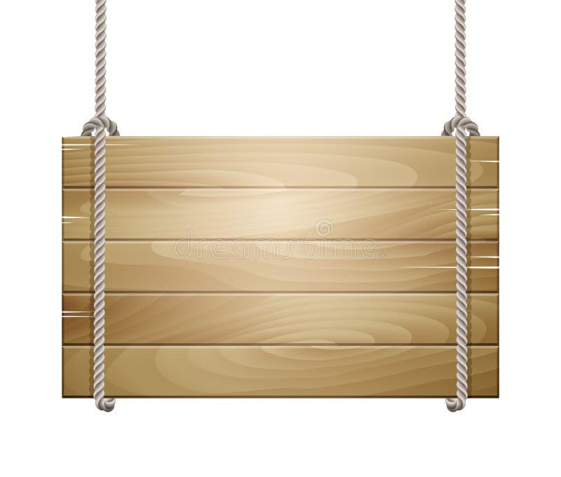 Signe de conseil en bois accrochant sur une corde illustration de vecteur