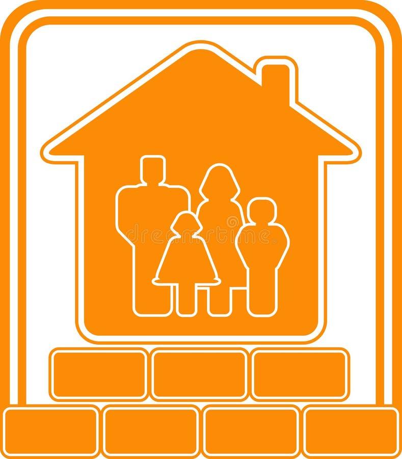 Signe de construction avec la maison et la famille de briques illustration stock