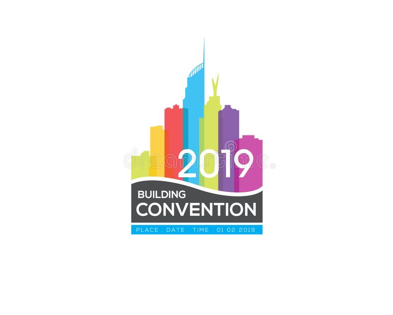 Signe de construction de logo de convention avec l'image du skyscrapper d'horizon de paysage urbain illustration de vecteur