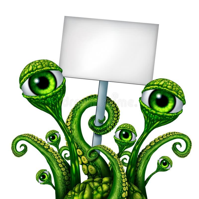 Signe de créature d'étranger d'espace illustration stock