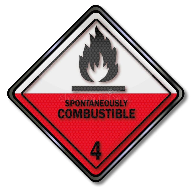 Signe de danger à la combustion spontanée illustration de vecteur