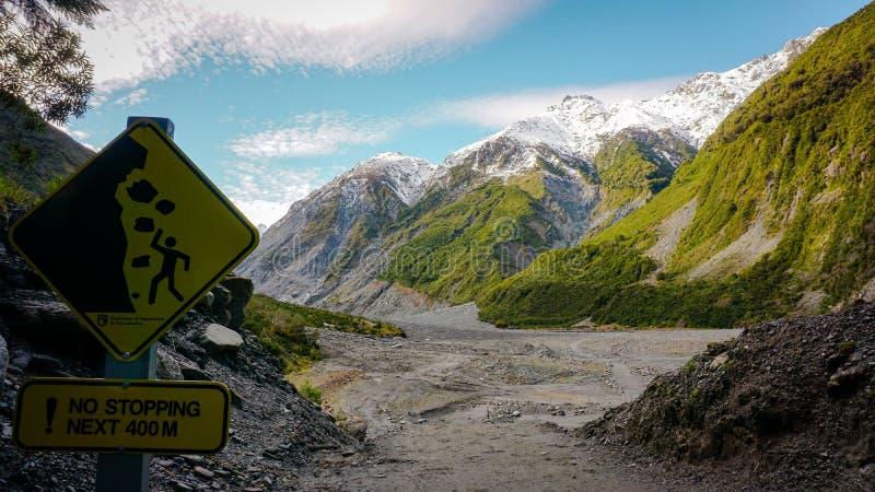 Signe de danger de glacier de Fox images libres de droits