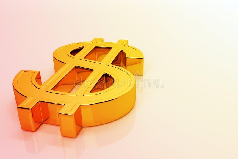 Signe de dollar doré sur une surface brillante en orange Symbole dollar d'or avec espace de copie rendu 3d, illustration stock