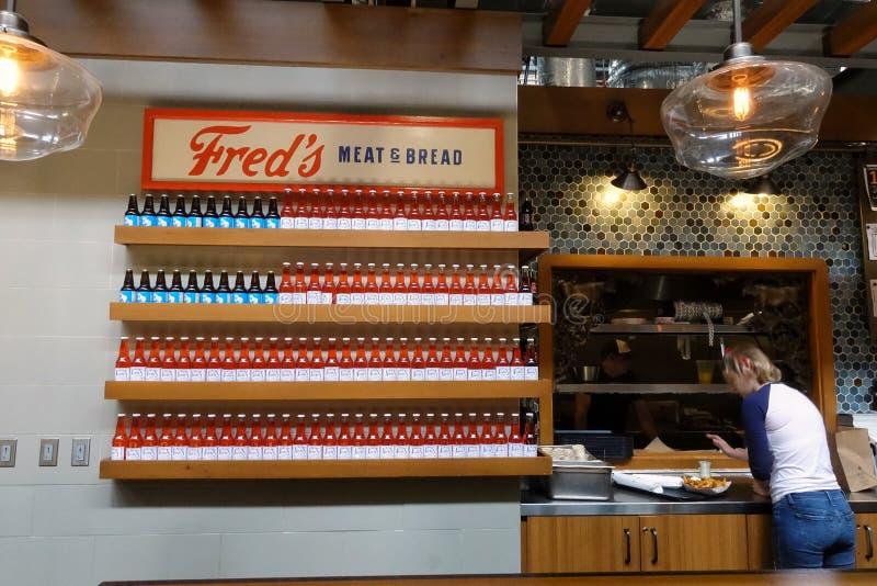 Signe de drapeau américain pour un restaurant images libres de droits