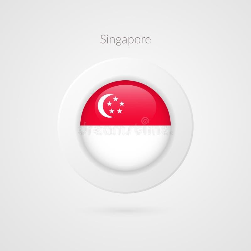Signe de drapeau de Singapour de vecteur Symbole de cercle de Singaporian Illustration de pays asiatique illustration libre de droits
