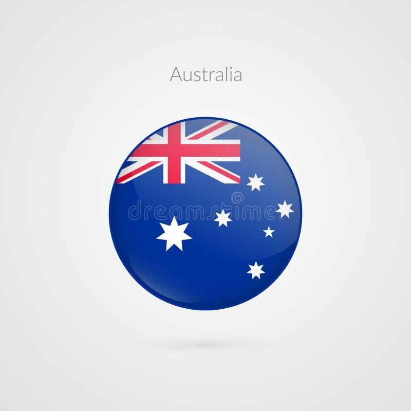 Signe de drapeau de vecteur d'Australie Symbole australien d'isolement de cercle Icône brillante d'illustration pour le voyage, s illustration de vecteur