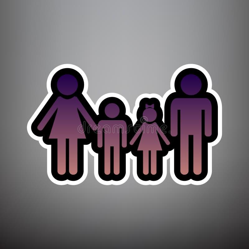 Signe de famille Vecteur Icône violette de gradient avec l noir et blanc illustration libre de droits