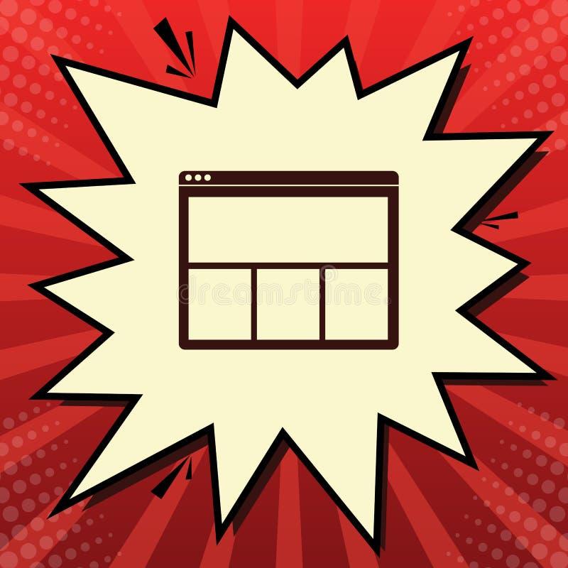 Signe de fenêtre de Web Vecteur Icône rouge foncé dans la bulle de volet de mousseline de soie de citron au fond rouge de popart  illustration stock