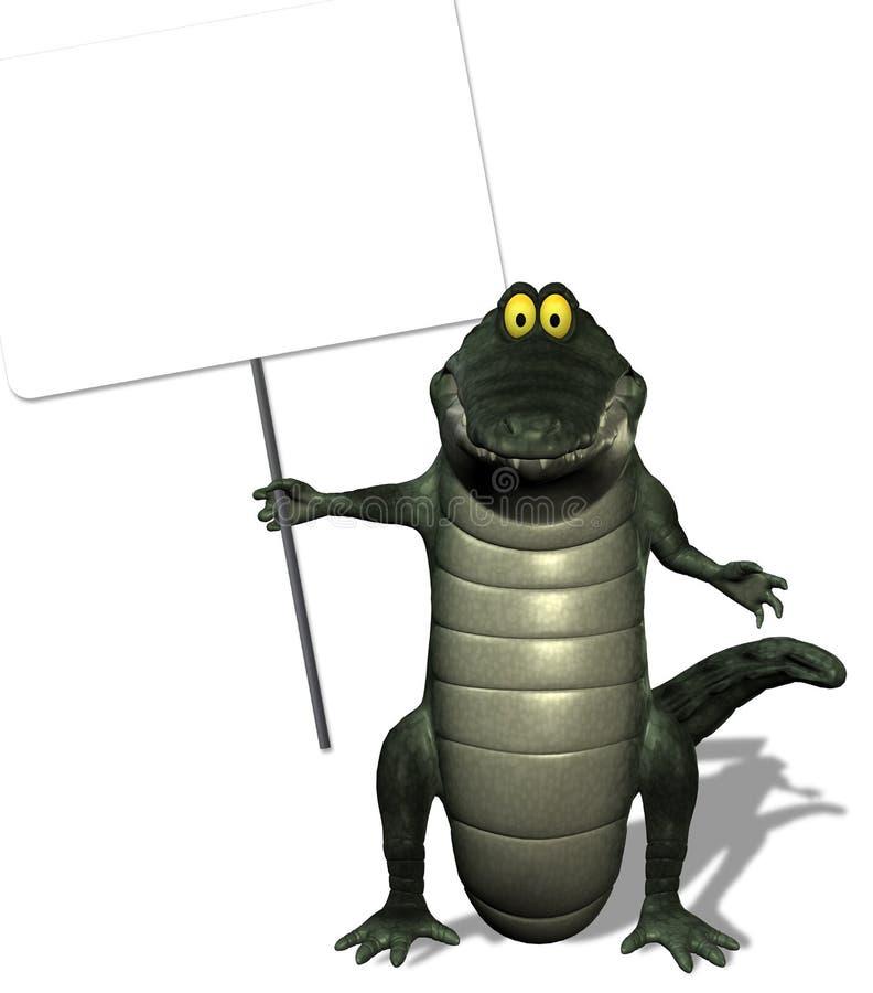 Signe de fixation de crocodile avec le chemin de découpage illustration libre de droits