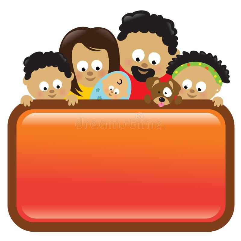 Signe de fixation de famille, Afro-américain illustration de vecteur