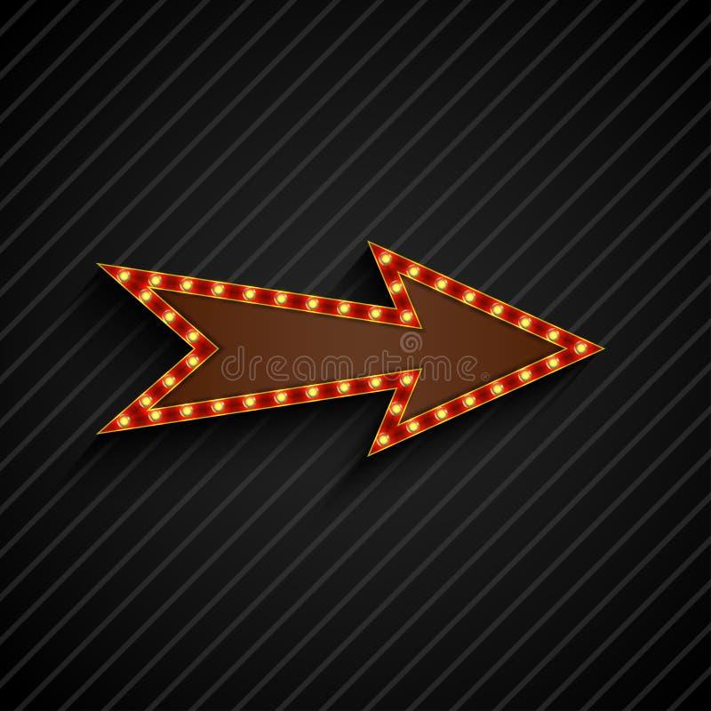 Signe de flèche avec les ampoules sur le fond noir illustration libre de droits