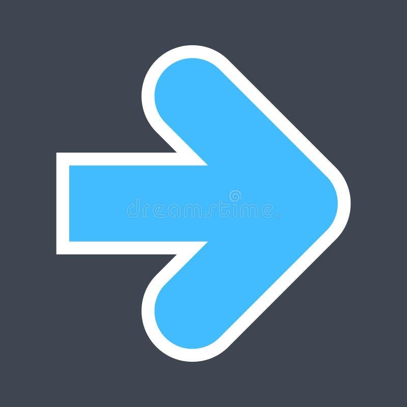Signe de flèche créé comme icône d'autocollant avec un contour blanc Symbole bleu de navigation conçu dans le style plat images stock