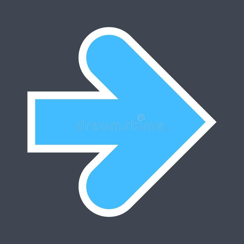Signe de flèche créé comme icône d'autocollant avec un contour blanc Symbole bleu de navigation conçu dans le style plat image libre de droits